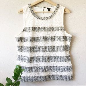 NWT J. Crew Fringey Top In Tweed and Lace
